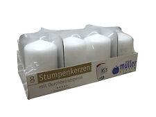 8 Stumpenkerzen selbstlöschend 80 x 50 mm Weiß Müller Kerzen Durchbrandsperre