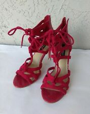 """WHITE HOUSE BLACK MARKET Womens Red Strappy Gladiator 4"""" Pumps Sz 7.5M Dust Bags"""