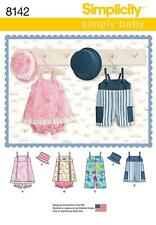 SIMPLICITY SEWING PATTERN BABIES ROMPER JUMPER PANTIES HATS S - L 8142 A SALE