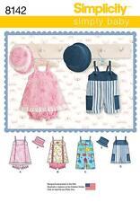 SIMPLICITY SEWING PATTERN BABIES ROMPER JUMPER PANTIES HATS S - L 8142 A
