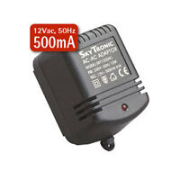 2.1mm 12V AC Mains Power Supply Adapter 12Vac 500mA UK Plug