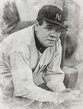 BABE RUTH ACEO  Pencil Sketch Art Print Card LIMITED EDITION  # /50  L#34