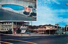 The Dalles Oregon~Oregon Motor Hotel~Kidney Shaped Swimming Pool~1960s Postcard