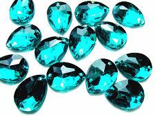 96 Dark Emerald Acrylic Teardrops Bead 13X18 mm Rhinestone Gems Flatback Sew on