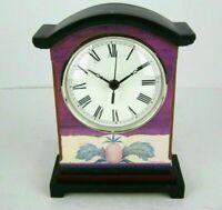 "Warren Kimble Mantel Clock Folk Art Shelf Table Wood Pineapple Traditional 10"""