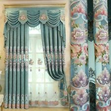 European Embroidery Curtains Pelmets Lace Tulle Voile Window Panel Drapes Luxury