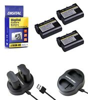3 EN EL15 Batteries+Charger for Nikon DSLR D7200-D7100-D7000-D810-D800-D750-D610