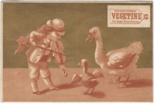 Odd Musical Goose Victorian Trade Card for Vegetine Patent Medicine Music Animal