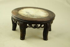 """5.9"""" Antique Chinese Hand Carved Footed old Wood Stand Jade in the inside"""