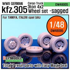 DEF.MODEL, WW2 German Cargo Truck Kfz.305 Sagged Wheel set (Tamiya 1/48),DW48005