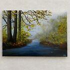 "Original Miniature Painting Forest Stream Artist Idella 3.5"" ACEO"