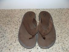 Okulai Napili Brown Leather Flip Flops in Size 10-EUC