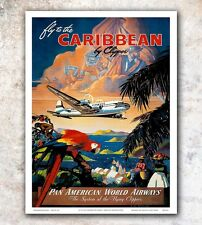 "Caribbean Vintage Travel Poster Art Print 12x16"" Rare Hot New A611"