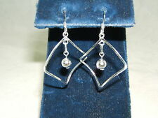 Beautiful New Sterling Silver Square Dangle Ball  Earings!! 1 1/2 Inches Long