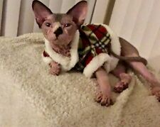 Sphinx cat clothes, Small Dg clothes fluffy pet wear size small Red Plaid SOFT