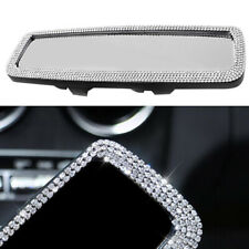 Car Rear Flat View Mirror Wide-angle Lens Driving Reversing Crystal Bling Style