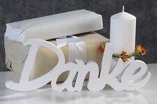 Schriftzug 'Danke' Holz weiß Geburtstag Kommunion Hochzeit Länge 35 cm NEU
