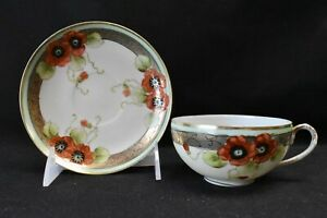 Nippon Cup & Saucer Poppies Hand Painted