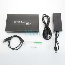 "USB 2.0 3.5"" IDE Aluminum HDD Hard Drive Enclosure External Case HK Black"