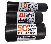 Strong Black Bin Bags On Roll Refuse Rubbish Sack Bin Liner 10s / 20s / 50s
