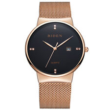 Chic BIDEN Women Men Casual Simple Quartz Watch Waterproof Stainless Steel Mesh