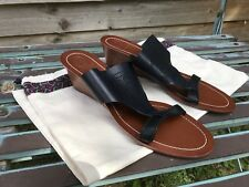 Tory Burch Black Leather Perforated Logo Wedge Sandals Size 8M Uk 5.5