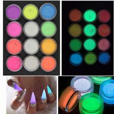12 Boxes Luminous Acrylic Fluorescent Powder Glow In the Dark Nail Art Pigment