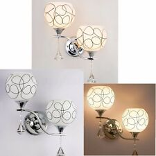 Modern LED Crystal Wall Sconce Light Bulb Bedroom Bedside Lighting Fixture US