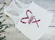NWT Victoria Secret ANGEL White Pink Glitter Racer Back Tank Top Small
