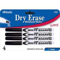 Fine Tip Dry Erase Whiteboard Black Marker 4 PCS