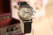 Vintage Roman Numeral Hours Ladies Watch For Women Black Leather Strap