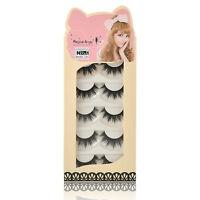 Fashion Soft 5 Pairs Handmade Makeup Thick False Eyelashes Eye Lashes Long TR15