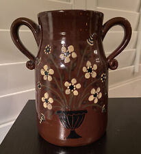 RED OAKS Pottery - Pam Armbrust Flowered Brown JUG/  VASE