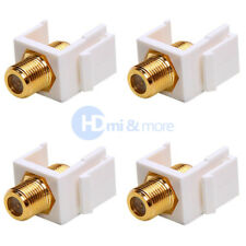 4x Snap in F-Type Insert Keystone Connector Module Coax Wall Jack RG59 RG6 White