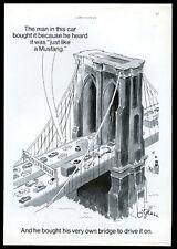 1967 Ford Mustang car Brooklyn Bridge art vintage print ad