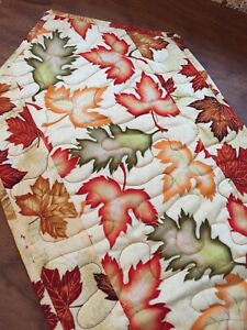 Handcrafted-Quilted Table Runner - Maple & Oak Leaves, Leaves & More Leaves