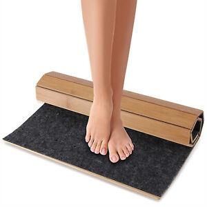 SereneLife SLFBMT20 Fold Up Non Slip Waterproof Natural Bamboo Bath Floor Mat