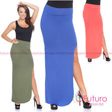 Womens Maxi Skirt High Waist Leg Slit Split Long Skirt Side Open Size 8-12 1075