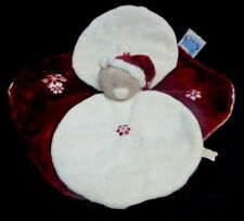 Doudou Ours NOUKIE'S Collection Christmas Plat Rouge Blanc Flocons Brodés NEUF