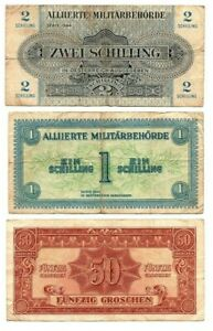 AUSTRIA Military SET: 50 Groschen + 1 & 2 Schilling (1944) P-102-104 F/VF Notes