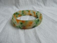Nice men's vintage Chinese carved jade round multi-color bangle bracelet large
