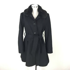 Apt 9 M Black Wool Day Coat Faux Fur Collar Belted LKNEW Chic Wow Cute