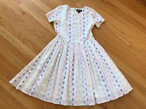 Lands'End Neon Swiss Dot Classic Summer Dress Girl 10 Cotton Lined Sweet White