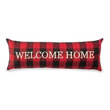 Mud Pie H0 Lodge Christmas Buffalo Check Welcome Home Long Pillow 12x35in