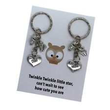 Mum Dad Proud To Be Pregnancy Expecting Handmade Charm Keyring Baby Shower Gift