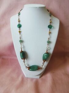 Green Aventurine and Crystal Copper Necklace