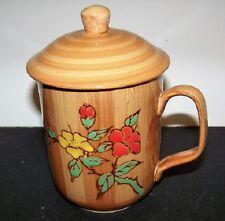 Woodlike Finish Floating Flowers Design Ceramic  Tea Mug with Lid 10 fl oz