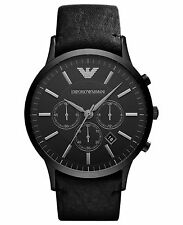 NEW EMPORIO ARMANI AR2461 MEN'S BLACK LEATHER  DIAL CHRONOGRAPH WATCH