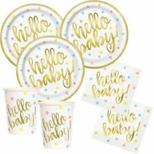 Partyset 49 Teile Hello Baby Partydeko 16 Pers. Babyparty Girl Boy Babyshower