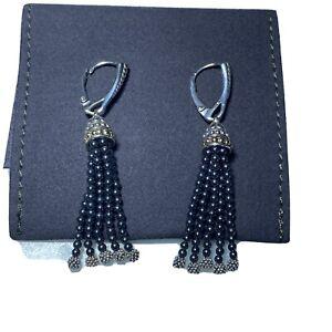 LAGOS-Caviar Icon-Silver+18k Gold-Hematite Tassel Earrings-New W/O Tags
